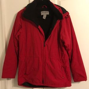 Red waterproof windbreaker with fleece lining